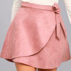 Lulu's Wrap To It Mauve Suede Mini Skirt